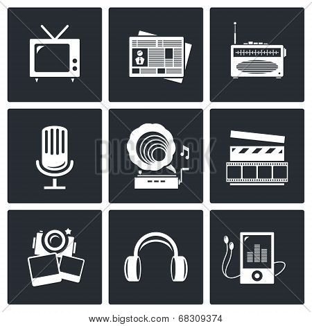 Media Icon Set - Video, News, Music, Tv, Recording, Photo