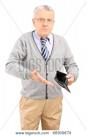 Senior gentleman holding an empty wallet isolated on white background