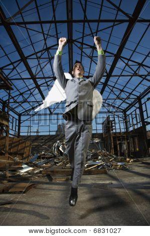 Businessman Wearing Angel Wings