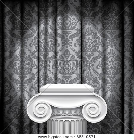 Vector image of the capital of ancient column against a illuminated gray fabric background with classic ornament