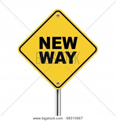 3D Illustration Of Yellow Roadsign Of New Way