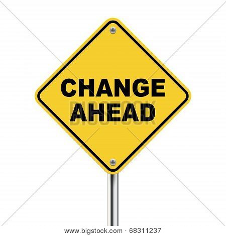 3D Illustration Of Yellow Roadsign Of Change Ahead