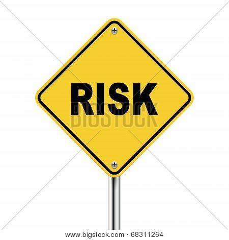 3D Illustration Of Yellow Roadsign Of Risk