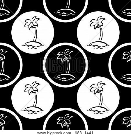 Seamless pattern, islands with palm silhouettes