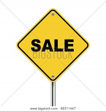3D Illustration Of Yellow Roadsign Of Sale