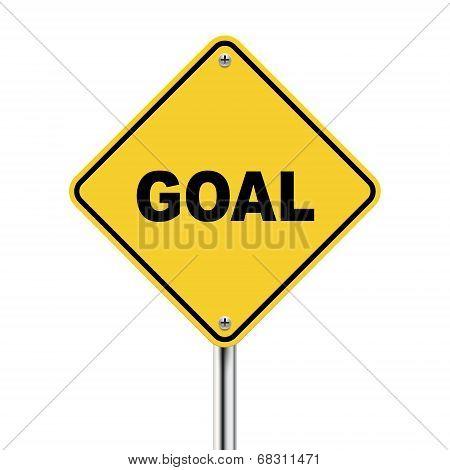 3D Illustration Of Yellow Roadsign Of Goal