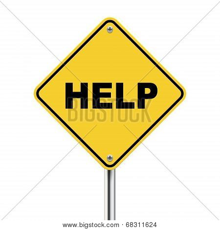3D Illustration Of Yellow Roadsign Of Help