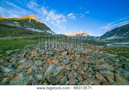 Mountain with Sunrise and snow