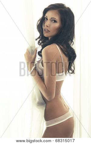 Beautiful Young Brunette Woman Posing, Wearing White Bra. Studio Shot.