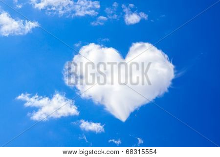 Blue Sky With A White Cloud In The Form Of Heart