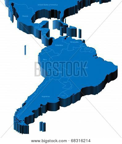3D Map Of Latin America