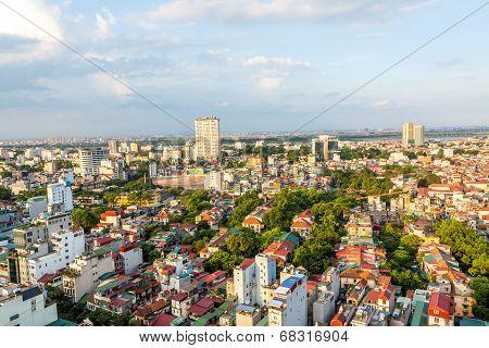 Sunset on skyscaper Hanoi