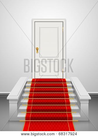 Vector stairs with red velvet carpet and wooden white door.
