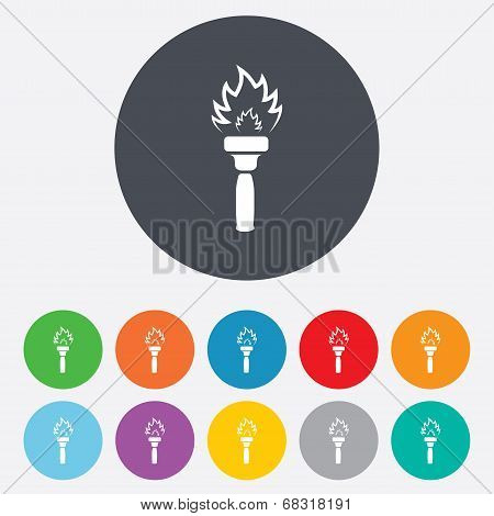 Torch flame sign icon. Fire symbol.