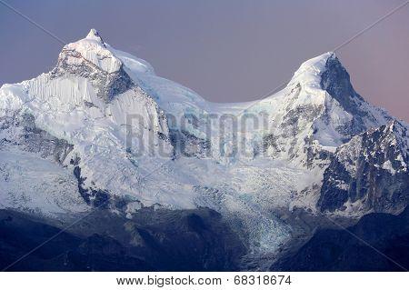 Huandoy Peaks (6395m) in Cordilera Blanca, Peru, South America