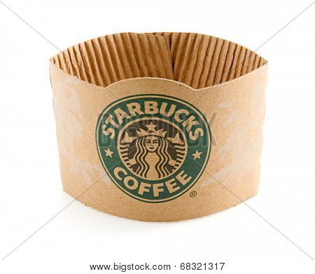 Ankara, Turkey - May 31, 2012:  Starbucks logo on cardboard collar isolated on white background