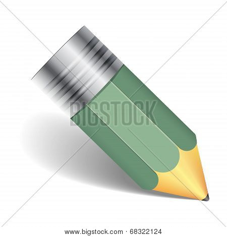 Green Pencil With Shadow