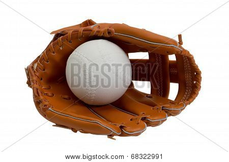 leather baseball glove and white ball