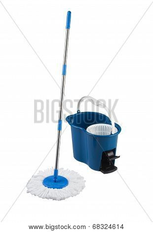 cleaning mop and blue bucket