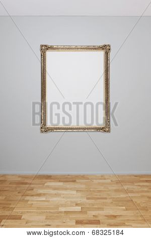 Blank wall interior with an empty frame