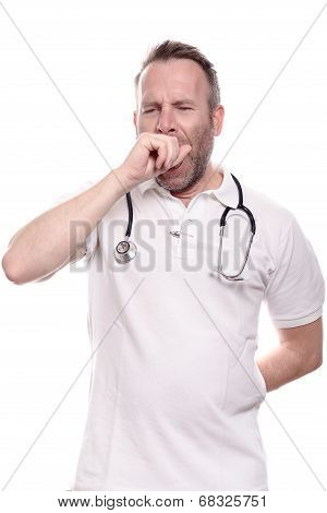Exhausted Doctor Yawning