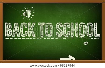 Green board with text on chalkboard.Vector