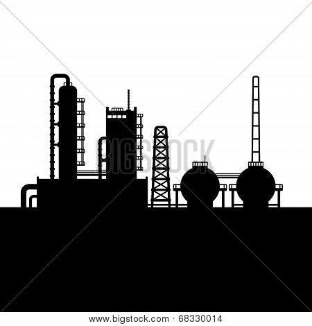 Oil Refinery Plant and Chemical Factory Silhouette 1. Vector