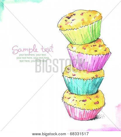 painted watercolor card with cupcakes.