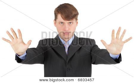 Young Businessman Extended His Arms To Show Us - Stop!