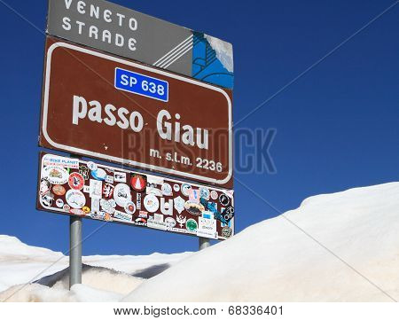 signpost of high mountain pass Passo Giau of Dolomites alps