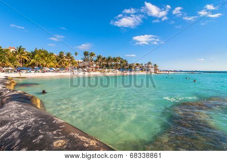 famous Playa del Norte beach in Isla Mujeres, Mexico