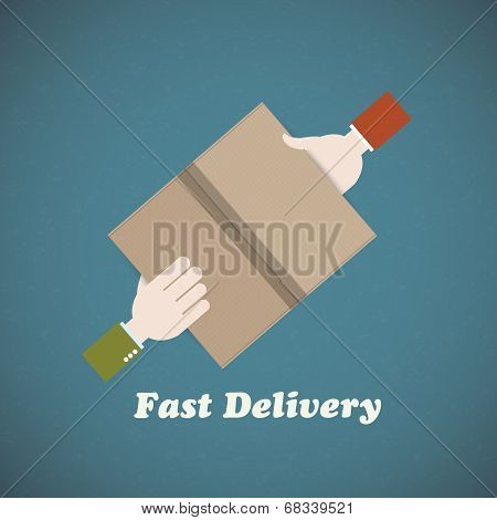 Courier delivery man hand and buyer hand