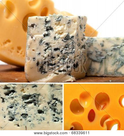Collage Of Dorblu And Other Cheeses