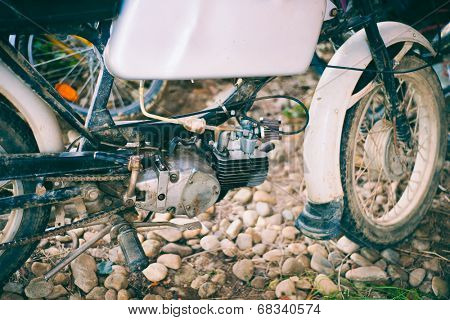 old motorbike parts - vintage stock photo
