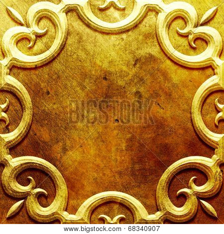 Gold metal plate with classic ornament