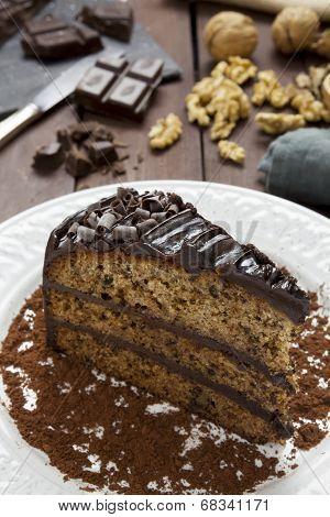 Slice Of Chocolate Walnut And Banana Cake
