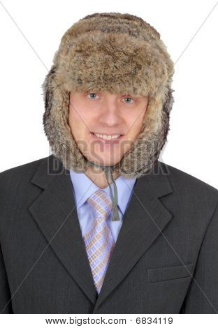 Portrait Of Russian Businessman In Fur Hat