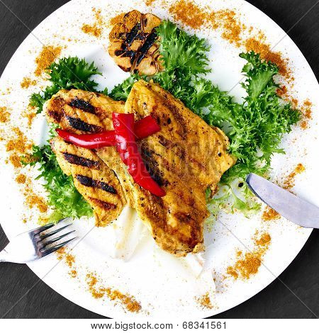 Spicy grilled chicken with curry powder