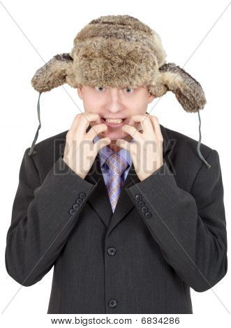 Emotional Comical Russian Man In Fur Hat