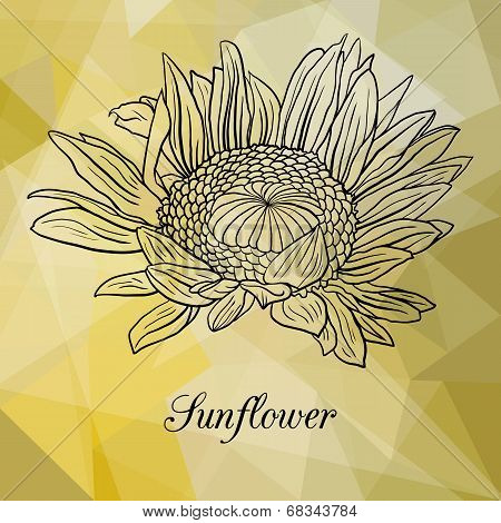 Abstract yellow geometric background with flower