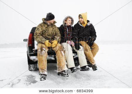 Three People Having A Beer