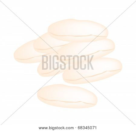 Stack Of Homemade Shortbread Cookies On White Background