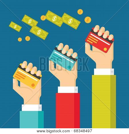 Human Hands with Cards and Dollars Money - Concept Illustration with in Flat Design Style