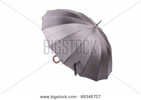 Black umbrella with wooden handle