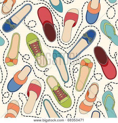 Seamless pattern with colored shoes and dashed lines. Find a pair
