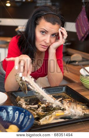 Tired Woman Cleans Up Leftovers From Lunch