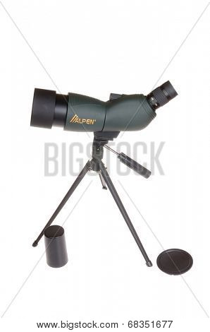 Hayward, CA - April 14,2014: Alpen Optics 15x-45x spotting scope, American designed and made in China, isolated on a white background