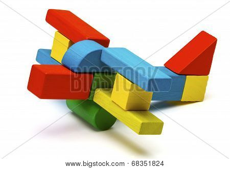 Toy Airplane, Multicolor Wooden Blocks Air Plane Transport Isolated White Background