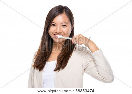 Asian woman use toothbrush