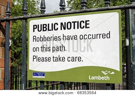 Crime warning sign, Lambeth